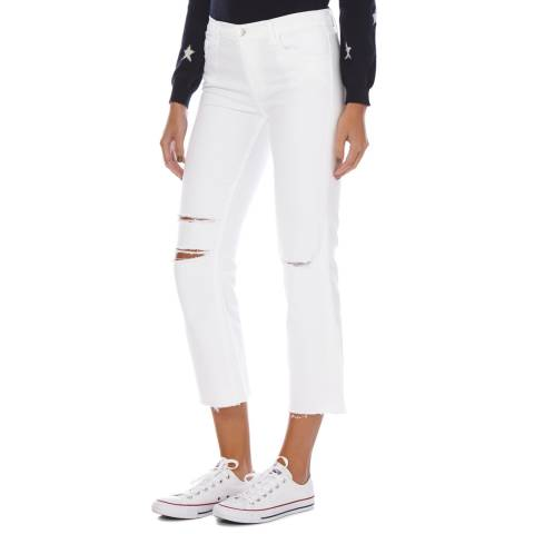 J Brand White Mid Rise Crop Boot Cut Raw Hem Jeans