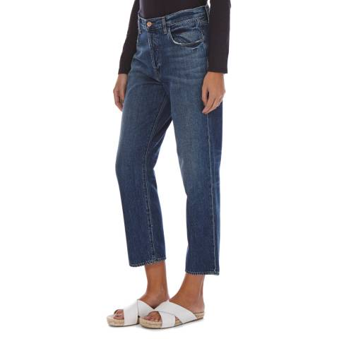 J Brand Blue Denim Ivy Cropped High Rise Jeans