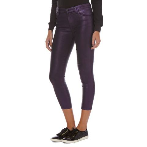 J Brand Purple Coated Alana High Rise Cropped Skinny Jeans
