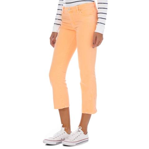 J Brand Orange Denim Mid Rise Selena Crop Boot Cut Jeans