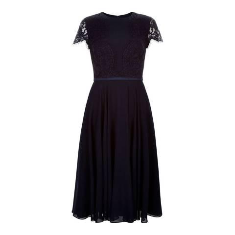 Hobbs London Navy Fenella Cotton Blend Dress