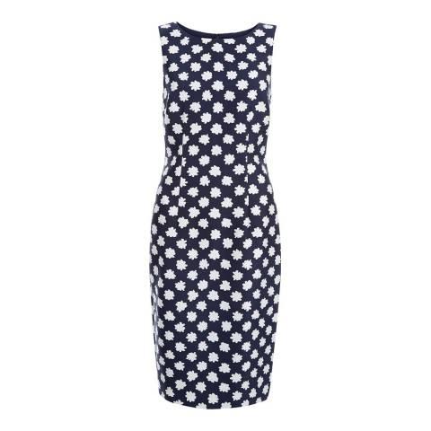 Hobbs London Navy Adele Silk Wool Blend Dress
