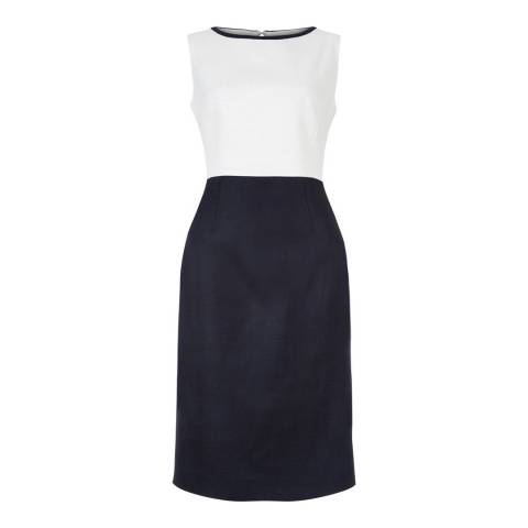 Hobbs London Ivory/Navy Meryl Dress