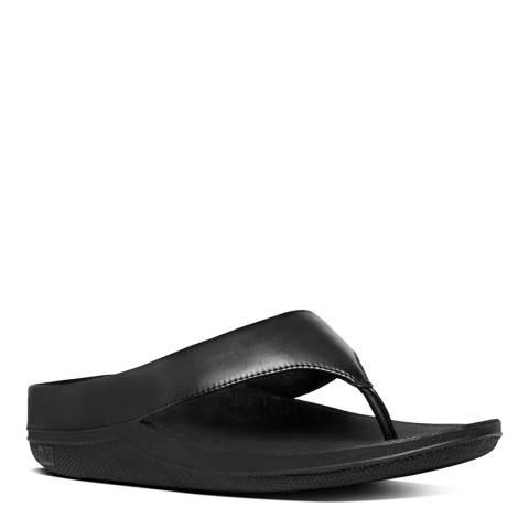 FitFlop Black Leather Blend Superlight Ringer Toe Post Flip Flops