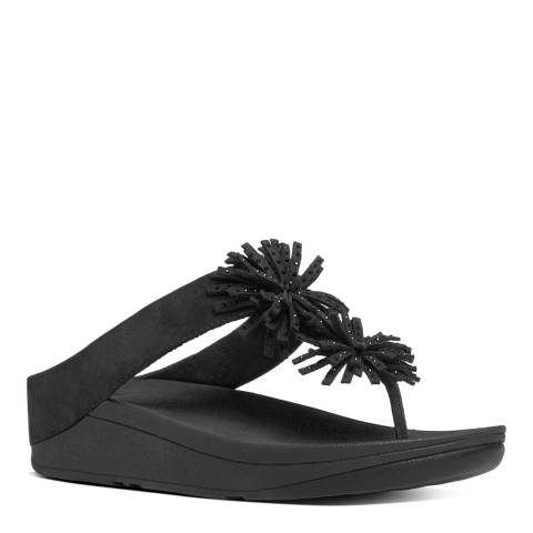 FitFlop Black Suede Blend Skyrocket Toe Thong Sandals