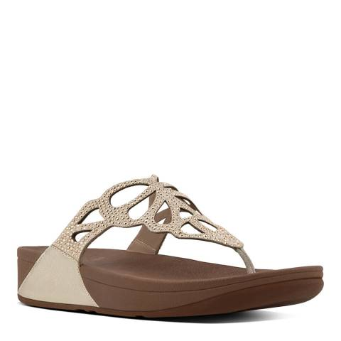 FitFlop Gold Leather Blend Bumble Crystal Toe Post Sandals