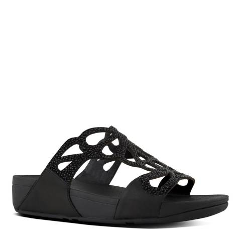 FitFlop Black Leather Blend Bumble Crystal Sliders
