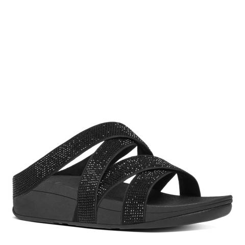 FitFlop Black Slinky Rokkit Criss Cross Slides