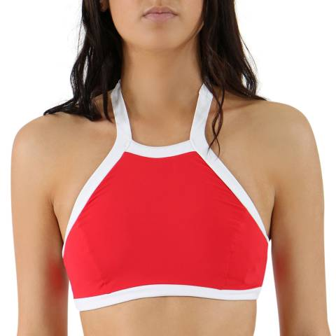 Seafolly Chilli Red Block Party High Neck Tank Top