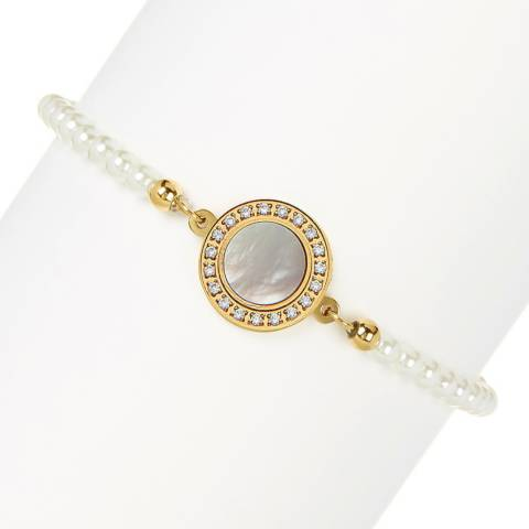 White label by Liv Oliver Gold Mother of Pearl Disc Bracelet
