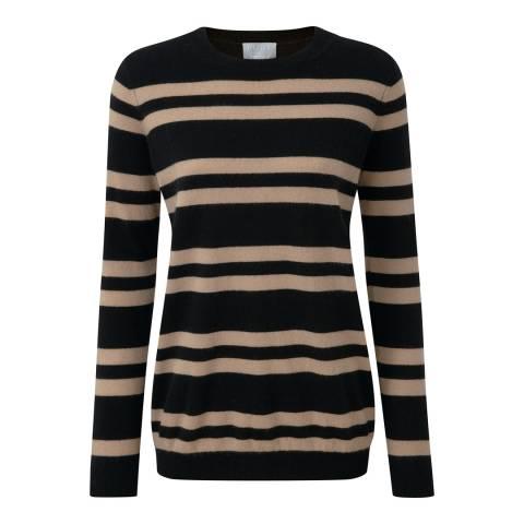 Pure Collection Black/Camel Stripe Cashmere Boyfriend Jumper