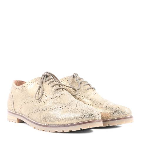 Carlton London Gold Leather Lace Up Brogue Shoes