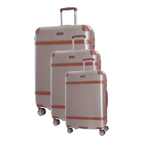Platinium Set of 3 Beige Venicia Spinner Suitcases 50/60/70cm
