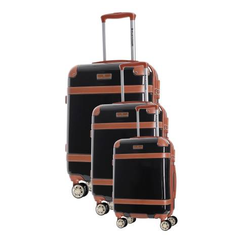 Platinium Set of 3 Black Venicia Spinner Suitcases 50/60/70cm