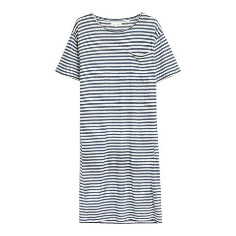 Chinti and Parker Blue and Ivory Stripe Linen Oversized T-Shirt Dress