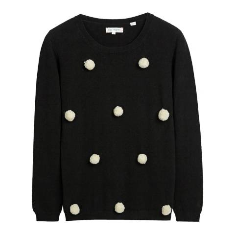 Chinti and Parker Black and Cream Cashmere Pom Pom Jumper