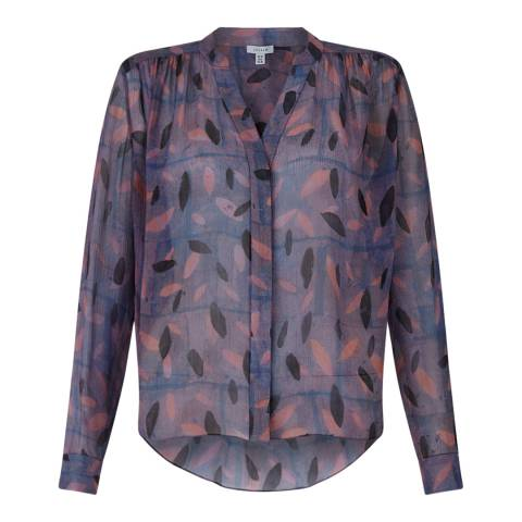 Jigsaw Navy Stamp Leaf Silk Blouse