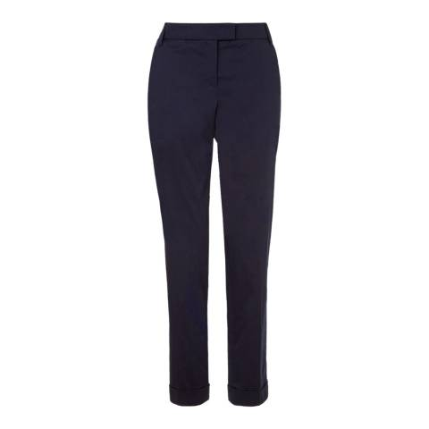 Jigsaw Womens Navy Cotton Stretch Sateen Trousers