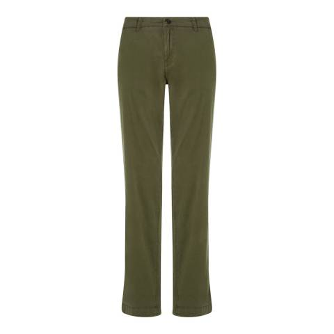 Jigsaw Womens Khaki Cotton Stretch Washed Chinos Slim Leg Trousers