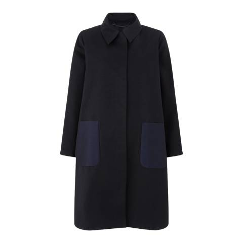 Jigsaw Womens Navy Cotton Faille Coat