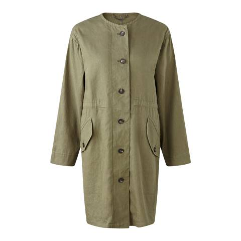 Jigsaw Womens Khaki Green Linen/Cotton Washed Drill Parka