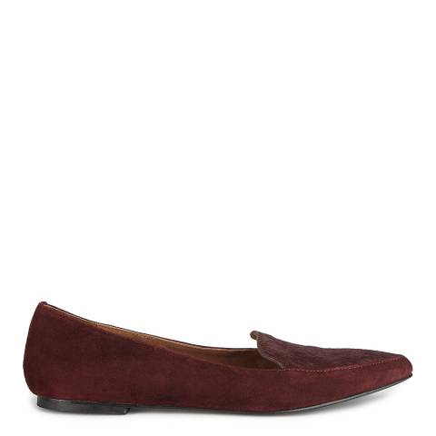 Jigsaw Womens Burgundy Leather Camille Pointed Flats