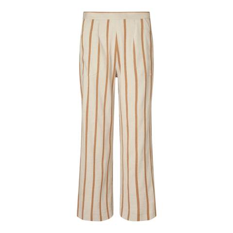 Jigsaw Yellow Linen/Cotton Blend Stripe Linen Patch Pocket Trousers