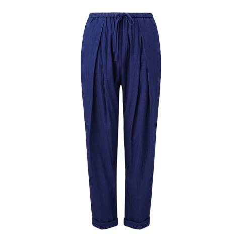 Jigsaw Womens Navy Cotton Drawstring Trousers