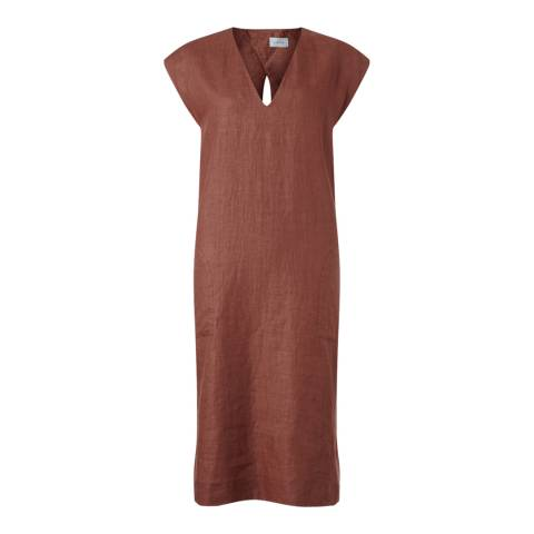 Jigsaw Rustic Linen V Neck Dress
