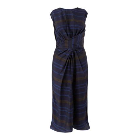 Jigsaw Womens Navy Multi Twist Front Stripe Dress