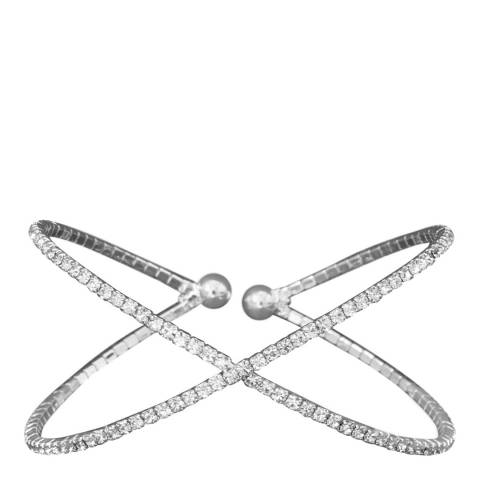 Black Label by Liv Oliver Silver Plated Criss Cross Cuff Bangle