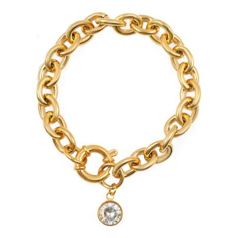 Chloe Collection by Liv Oliver Gold Chunky Bracelet With Cubic Zirconia Charm