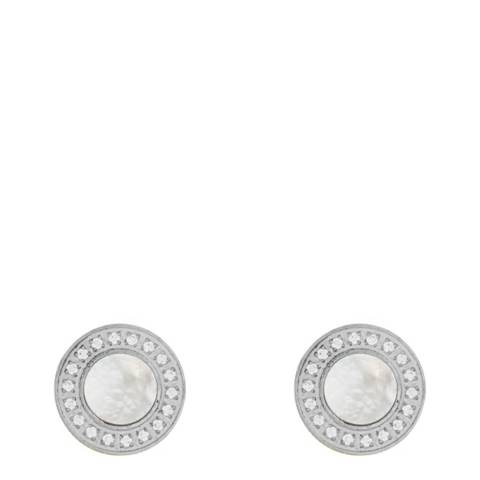 Black Label by Liv Oliver Silver Mother Of Pearl Cz Earrings