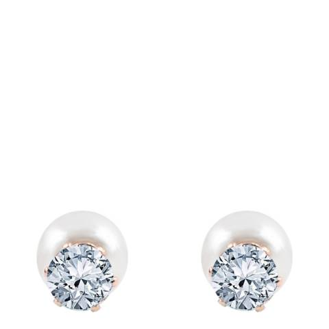 Black Label by Liv Oliver Rose Gold Cz And Pearl Double Sided Earrings