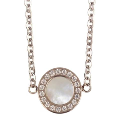 Black Label by Liv Oliver Silver Mother Of Pearl Cz Necklace