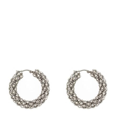Black Label by Liv Oliver Silver Crystal Mesh Hoop Earrings