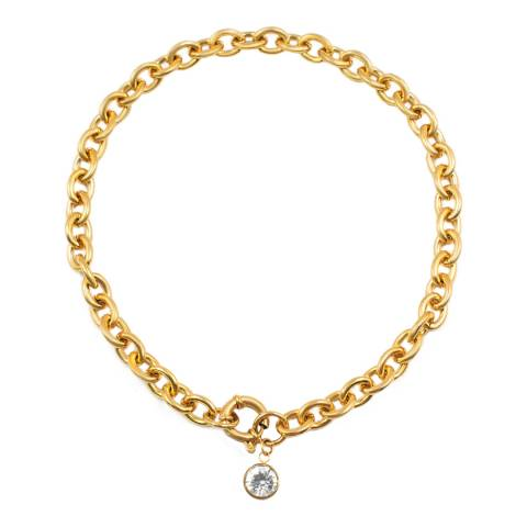 Chloe Collection by Liv Oliver Gold Zirconia Charm Necklace