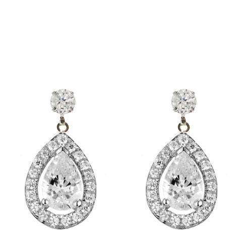 Black Label by Liv Oliver Silver Crystal Halo Drop Earrings