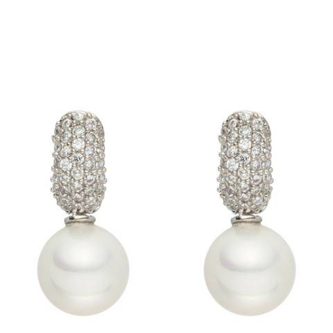 Pearls of London Silver/Pearl Hoop Earrings