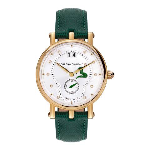 Chrono Diamond Women's Gold/Green Leather Ariadne Watch