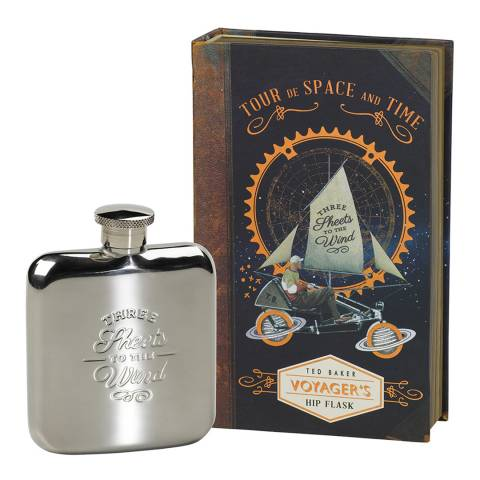 Ted Baker Silver Steel Thee Sheets To The Wind Hip Flask