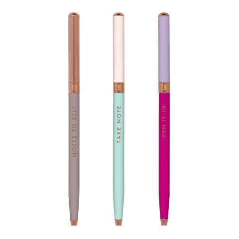 Ted Baker Porcelain Rose Set of 3 Ball Point Pens