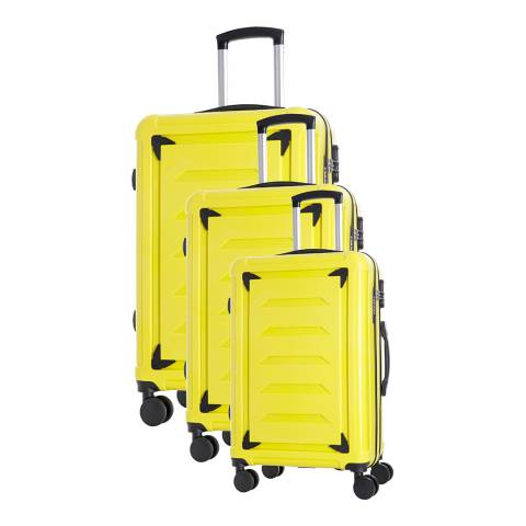 Renoma Set of 3 Yellow 4 Wheel Goldberg Suitcases