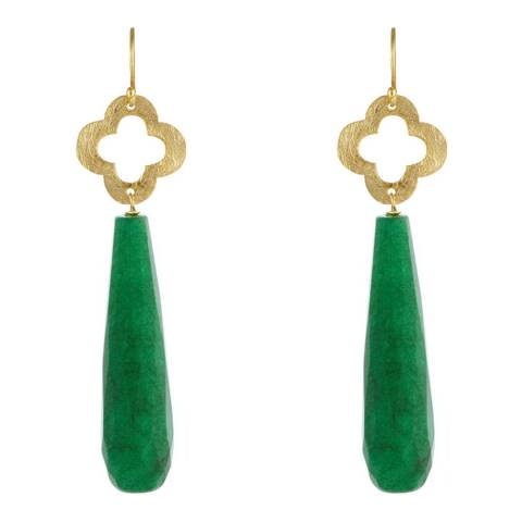Liv Oliver Gold Jade Clover Drop Earrings