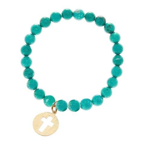 Liv Oliver Gold Turquoise Cross Bracelet