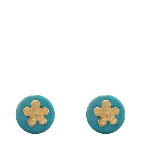 Liv Oliver Gold Turquoise Daisy Earrings