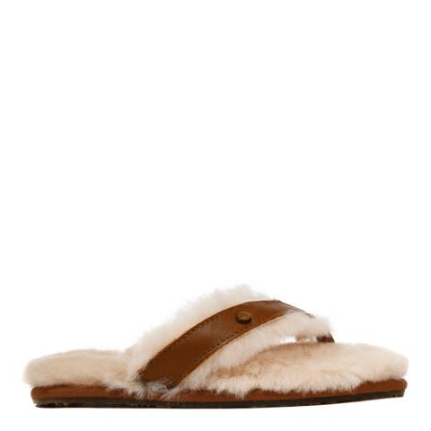 Australia Luxe Collective Brown Leather Flip Flop Slippers