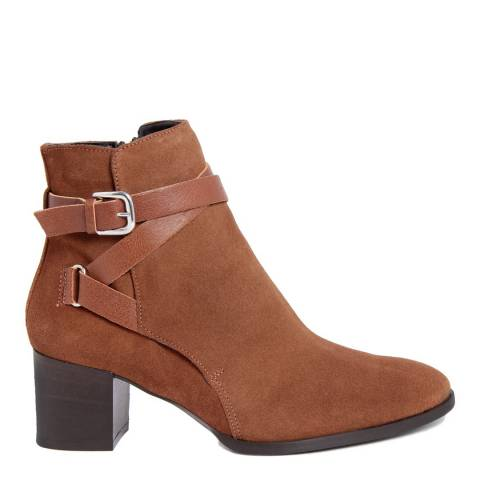 Paola Ferri Chestnut Brown Suede Buckle Detail Ankle Boots