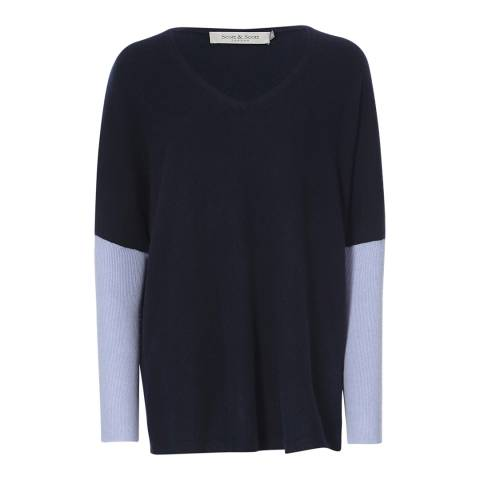 Scott & Scott London Dark Navy/Baby Blue Darcey V Contrast Cashmere Jumper