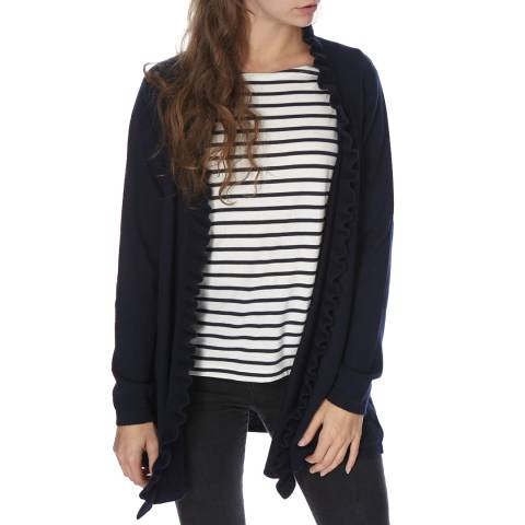 Scott & Scott London Navy Frill Front Cashmere Cardigan